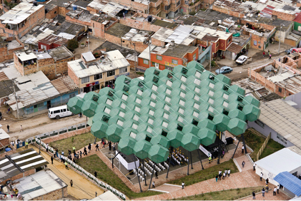 The 700 square metre canopy from above
